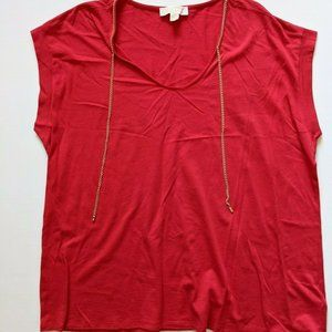 Michael Kors Womens Red Boxy Top Blouse with Gold Chain Detail - Plus Size 2X